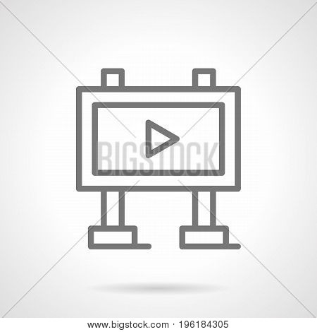 Abstract symbol of billboard with ads player. Outdoor and video advertising elements. Gray simple line design vector icon.