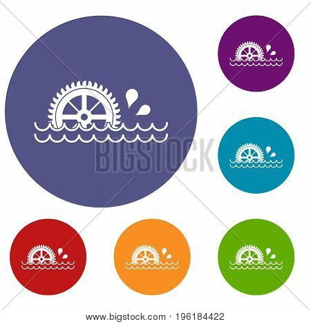 Waterwheel icons set in flat circle red, blue and green color for web