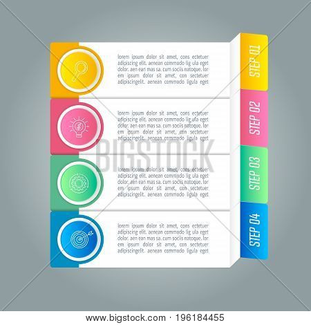 Creative concept for infographic with 4 options parts or processes. Timeline infographic business design and marketing icons for presentation annual report diagram workflow layout and web design.