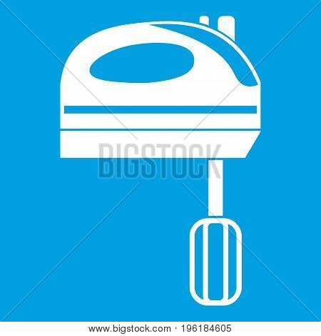 Mixer icon white isolated on blue background vector illustration