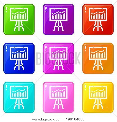 Flipchart with marketing data icons of 9 color set isolated vector illustration
