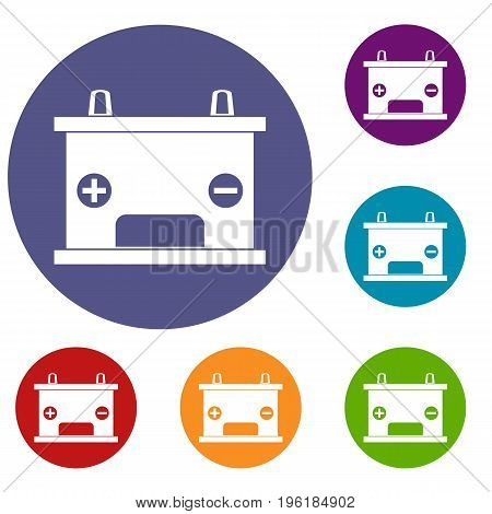 Electricity accumulator battery icons set in flat circle red, blue and green color for web