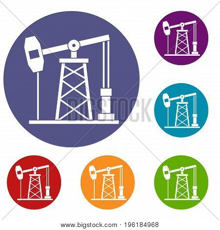 Oil derrick icons set in flat circle red, blue and green color for web