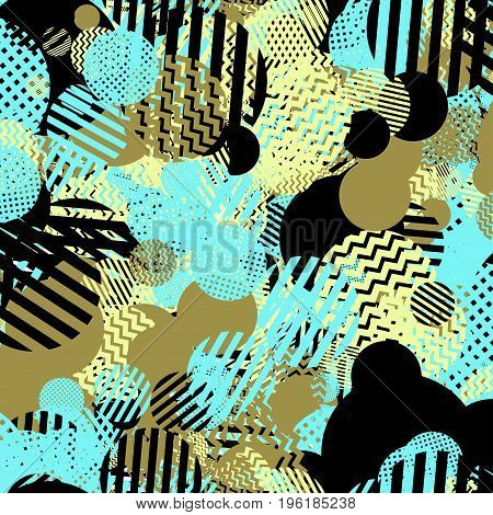 Vector seamless pattern in the style of the nineties. For digital and text printing on packaging, clothing, advertising, for your unique design and the Internet