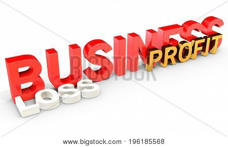3D Business Profit And Loss Word