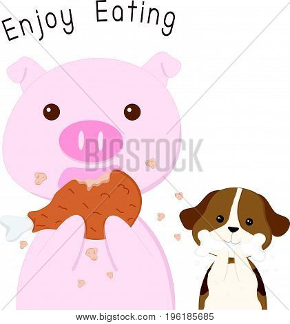 Pig and Dog Enjoy Eating vector cartoon illustration.