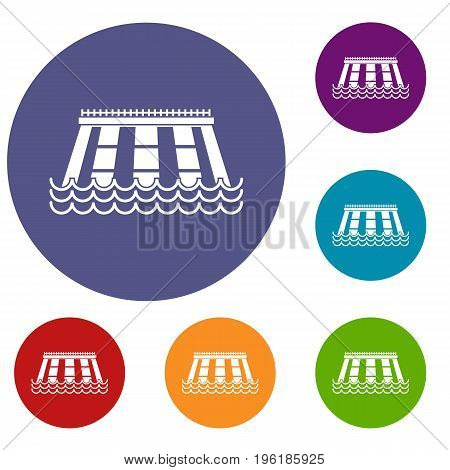 Hydroelectric power station icons set in flat circle red, blue and green color for web