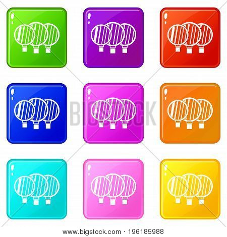 Camera lenses icons of 9 color set isolated vector illustration