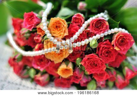 Wedding bouquet . The bride's bouquet. Bouquet of red flowers.