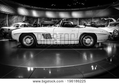 STUTTGART GERMANY- MARCH 19 2016: Sports car Mercedes-Benz 300 SL roadster 1962. Black and white. Mercedes-Benz Museum.
