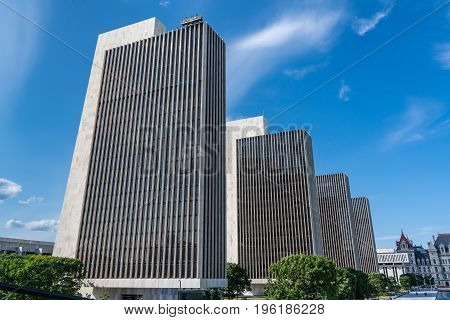 New York state government buildings along the Empire State Plaza in Albany NY
