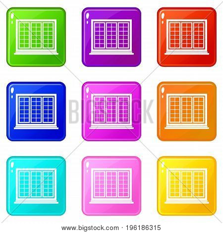 Wooden tricuspid window icons of 9 color set isolated vector illustration