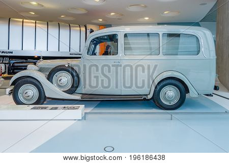 STUTTGART GERMANY- MARCH 19 2016: Ambulance on the basis of Mercedes-Benz Typ 320 (W142) 1937. Mercedes-Benz Museum.