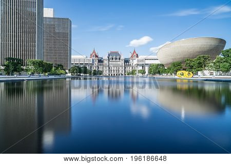 Reflection on the Empire State Plaza in Albany. New York