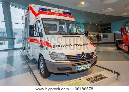 STUTTGART GERMANY- MARCH 19 2016: Mobile intensive care unit Mercedes-Benz Sprinter 313 CDI 2001. Mercedes-Benz Museum.