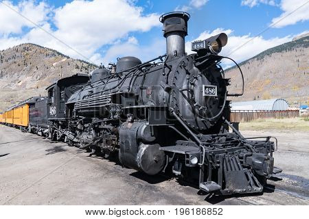 Old steam locomotive in the mountains of colorado