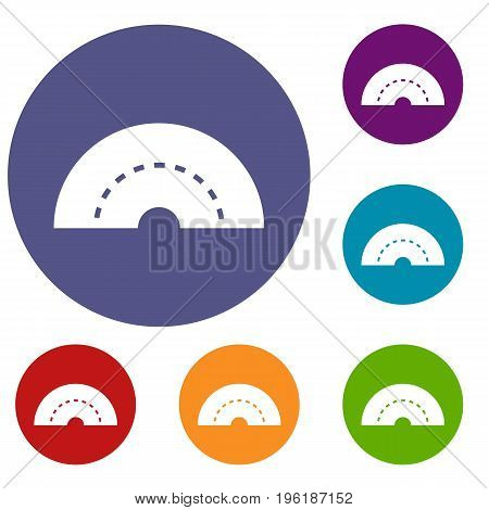 Round turning road icons set in flat circle red, blue and green color for web