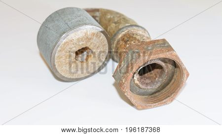 Lime and corrosion in water pipes in installation