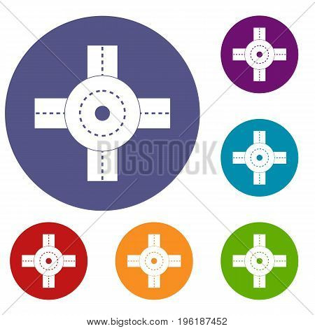 Big road junction icons set in flat circle red, blue and green color for web