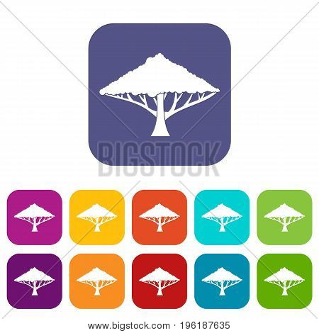 Tree with a spreading crown icons set vector illustration in flat style in colors red, blue, green, and other
