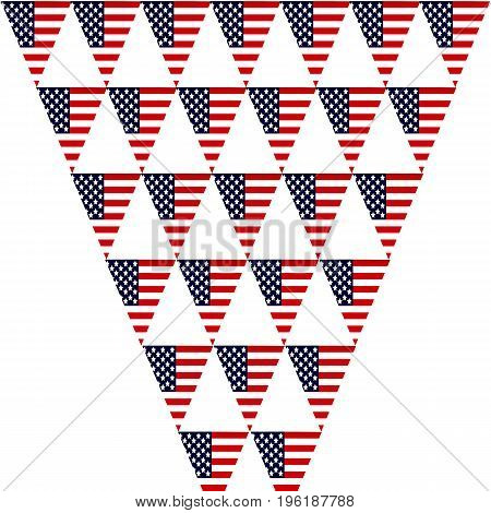 Triangular flags with the logo of America