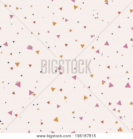 Abstract seamless pattern with colorful blue, gold, orange chaotic small triangles on beige background. Infinity triangular geometric card. Vector illustration.