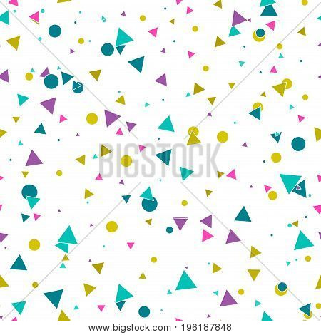 Abstract seamless pattern with messy colorful blue gold purple chaotic small circles triangles on white background. Infinity dotted triangular geometric card. Vector illustration.