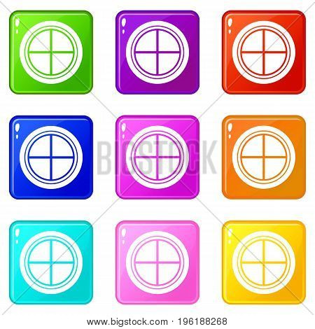 White round window icons of 9 color set isolated vector illustration