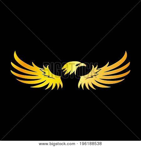 Golden Eagle with Black Background Vector Illustration