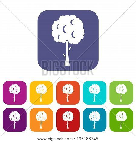 Tree with spherical crown icons set vector illustration in flat style in colors red, blue, green, and other