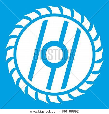 Circular saw blade icon white isolated on blue background vector illustration