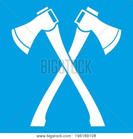 Two crossed axes icon white isolated on blue background vector illustration