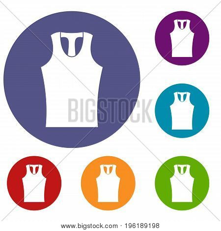 Sleeveless shirt icons set in flat circle red, blue and green color for web