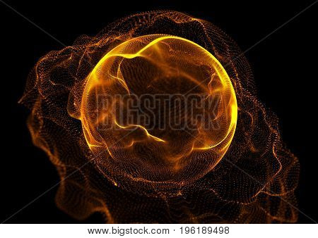 Abstract Particles Background with sphere shape. Orange light.