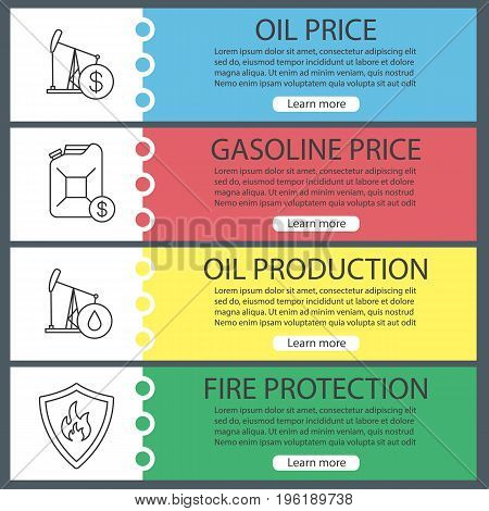 Oil industry web banner templates set. Gasoline canister, oil derrick, protection shield with fire. Website color menu items with linear icons. Vector headers design concepts