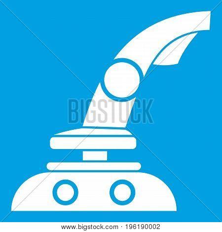 Joystick icon white isolated on blue background vector illustration