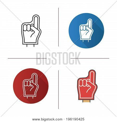 Foam finger icon. Flat design, linear and color styles. Sport fans hand. Isolated vector illustrations