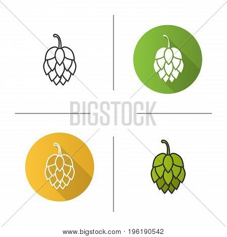Hop cone icon. Flat design, linear and color styles. Isolated vector illustrations