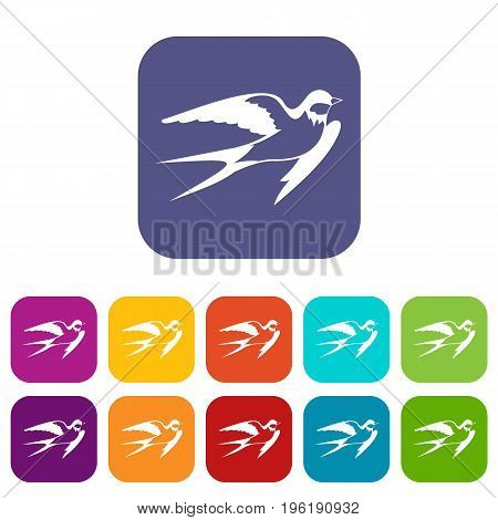 Barn swallow icons set vector illustration in flat style in colors red, blue, green, and other