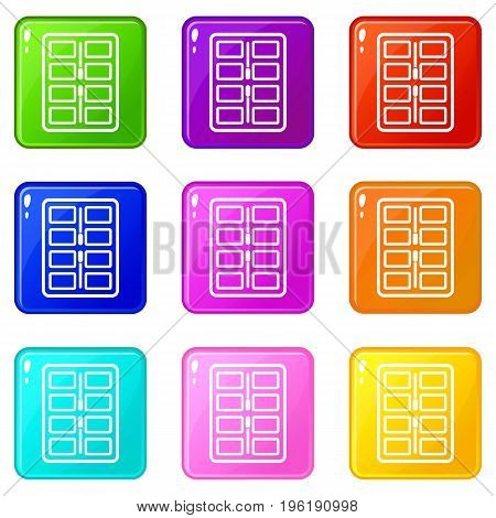 Makeup palette with applicators icons of 9 color set isolated vector illustration