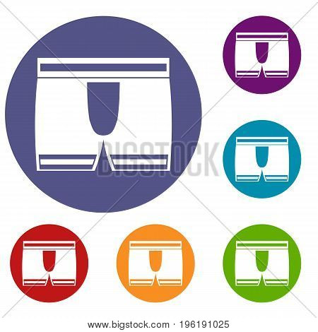 Man boxer briefs icons set in flat circle red, blue and green color for web