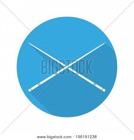 Crossed billiard cues. Flat design long shadow glyph icon. Vector silhouette illustration