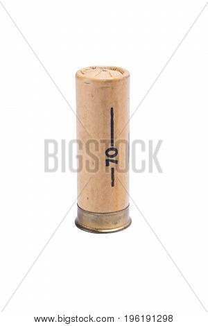 Paper brown bullet for shotgun with large shot on white background