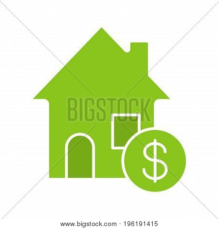 Real estate market glyph color icon. Rental house with dollar sign. Silhouette symbol on white background. Negative space. Vector illustration