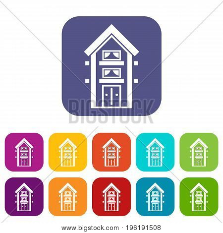Two-storey house with balconies icons set vector illustration in flat style in colors red, blue, green, and other
