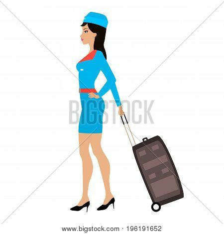 Vector illustration cartoon stewardess girl with a suitcase for travel. Isolated white background. Woman air hostess with a case on the wheels. Flat style. Side view.