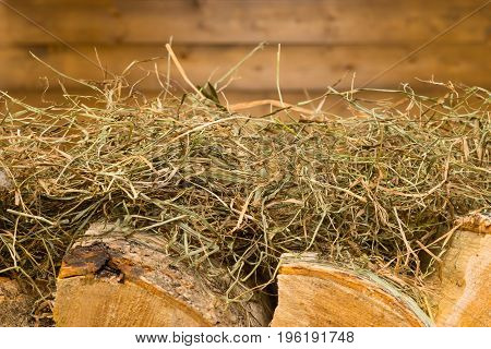 Background with a wooden wall with firewood lying on a hay