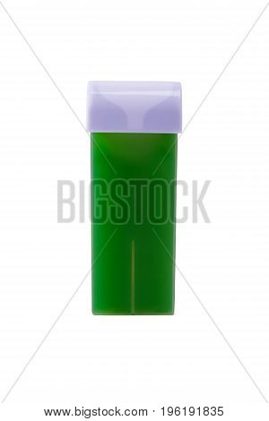 New cassette with green wax for hair removal on white background