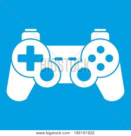 Game controller icon white isolated on blue background vector illustration