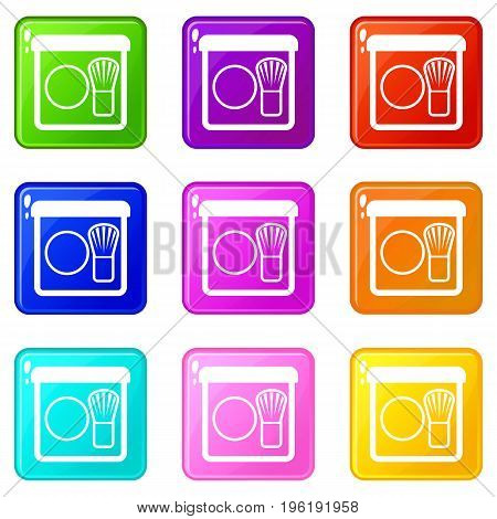 Rouge with brush icons of 9 color set isolated vector illustration